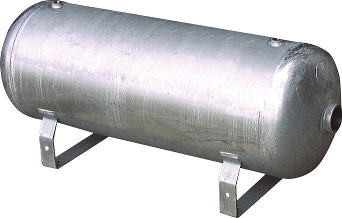 Horizontal compressed air reservoir, zinc plated, up to 16 bar