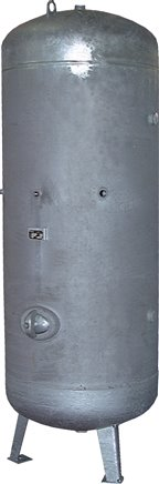 Vertical compressed air reservoir, zinc plated, up to 16 bar