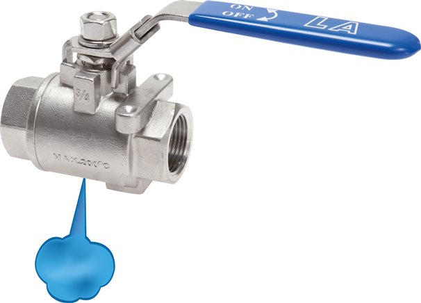 Stainless steel ball valves, 2-part, with forced exhaust (captured), PN 16