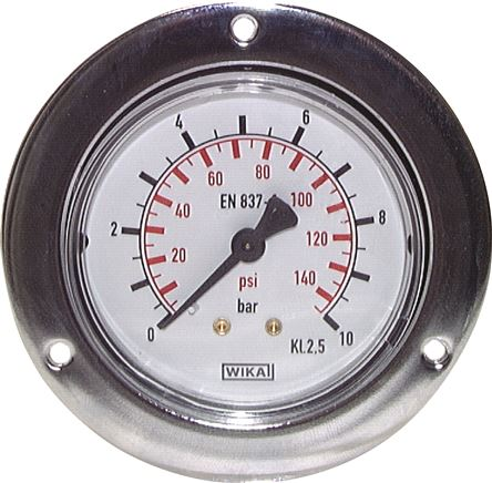 Built-in pressure gauge with large front ring for panel mounting, Class 2,5