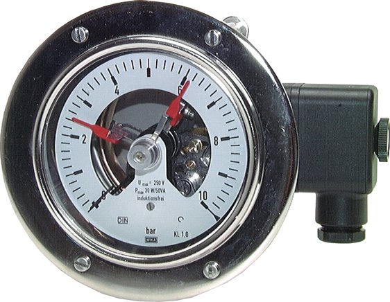 Stainless steel safety contact pressure gauge, horizontal Ø 100 mm, Class 1,0